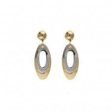 9ct Two Colour Gold Open Drop Earrings 1.34gms
