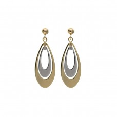 9ct Two Colour Gold Open Drop Earrings 1.70gms