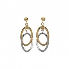 9ct Two Colour Gold Open Drop Earrings 1.53gms