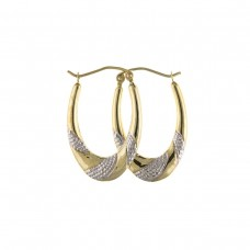 9ct Two Colour Gold Textured Oval Creole Earrings