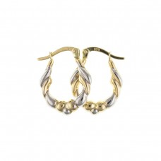 9ct Two Colour Gold Twisted Oval Creole Earrings