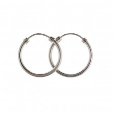 9ct White Gold 18mm Plain Hoop Earrings
