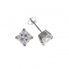 9ct White Gold 5mm Square White Cubic Zirconia Stud Earrings