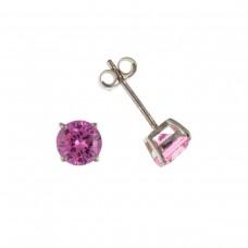 Silver 4mm Pink Cubic Zirconia Stud Earrings