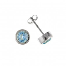 Silver Blue Topaz Stud Earrings