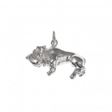 Silver Bulldog Charm Pendant
