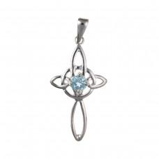 Silver Celtic Design Blue Topaz Cross Pendant