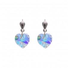 Silver Crystal Heart Drop Earrings