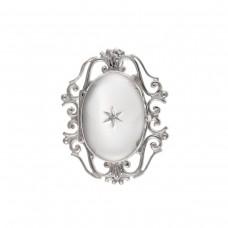 Silver Diamond Set Oval Locket Brooch