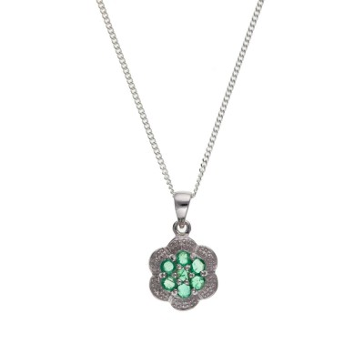 Silver Emerald And Diamond Cluster Pendant And 16'' Curb Chain