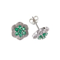 Silver Emerald And Diamond Cluster Stud Earrings