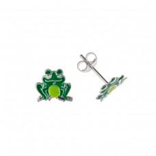Silver Enamelled Frog Stud Earrings