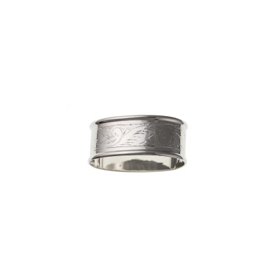 Silver Engraved Oval Napkin Ring