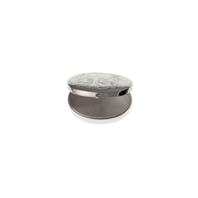 Silver Engraved Oval Pill Box