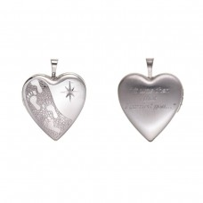 Silver ''Footprints'' Heart Locket