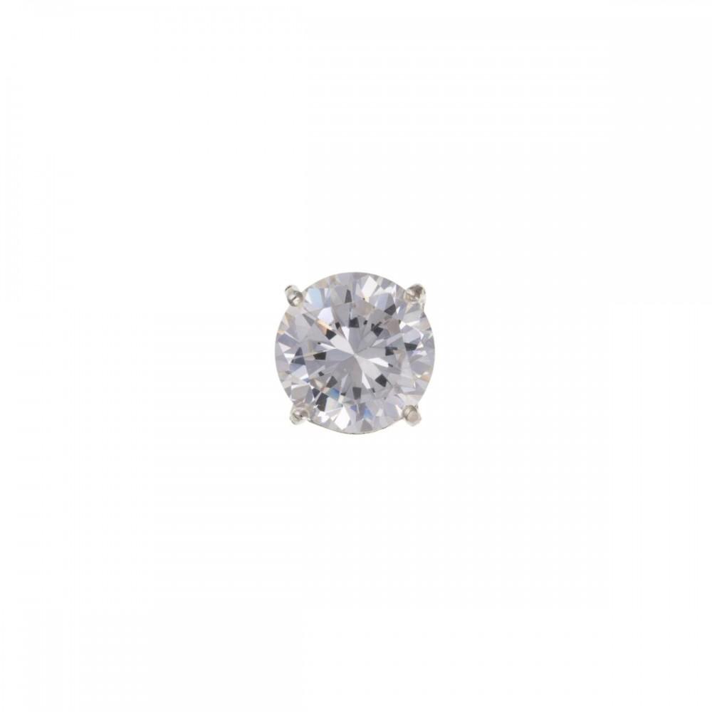 0b61d0de1cfe0 Silver Gents Round White Cubic Zirconia Single Stud Earring