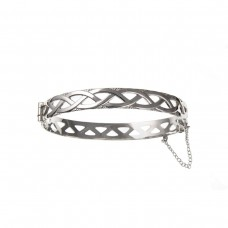Silver Celtic Style Bangle With Safety Chain 12.6gms