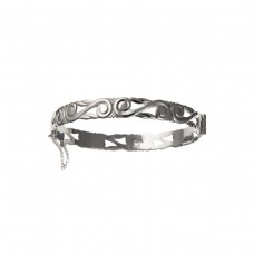 Silver Celtic Style Bangle With Safety Chain 13.5gms