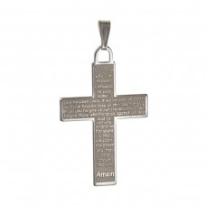 Silver ''Lords Prayer'' Cross Pendant