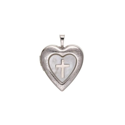 Silver Mother Of Pearl and Cross Heart  Locket