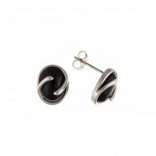 Silver Onyx Stud Earrings 1.50gms