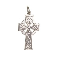 Silver Patterned Celtic Cross Pendant