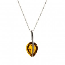 Silver Amber Pendant And 16'' Curb Chain