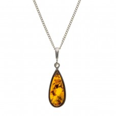 Silver Amber Pendant And 18'' Curb Chain