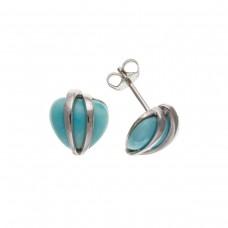 Silver Turquoise Heart Stud Earrings