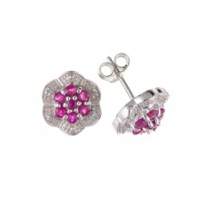 Silver Ruby And Diamond Cluster Stud Earrings