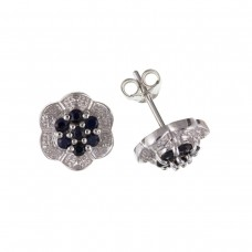 Silver Sapphire And Diamond Cluster Stud Earrings