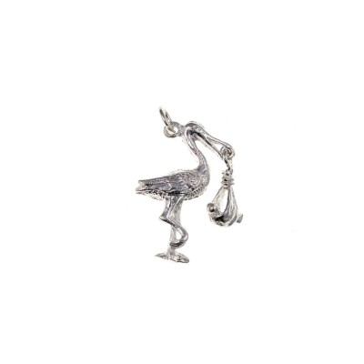 Silver Stork And Baby Charm Pendant
