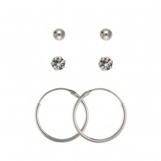Silver Trio Earrings Set- Ball, White Crystal And Hoop