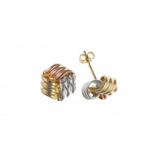 9ct Three Colour Gold Knot Stud Earrings 1.10gms