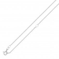 "Silver 18"" Adjustable Diamond Cut Curb Chain"