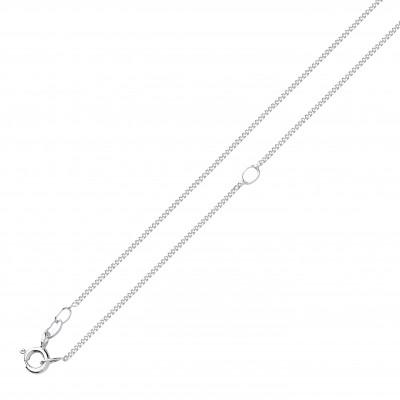 "Silver 18"" Adjustable Diamond Cut Curb Chain"