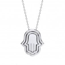 "Silver 3 Part Hamsa Pendant and 17"" Trace Chain"