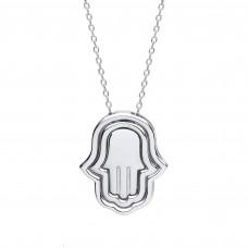 """Silver 3 Part Hamsa Pendant and 17"""" Trace Chain"""