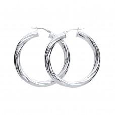 Silver 30mm Heavyweight Twist Round Creole Earrings