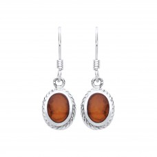 Silver Amber Drop Earrings