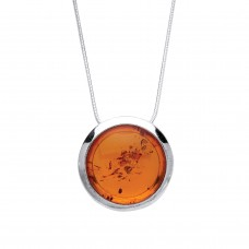 "Silver Amber Pendant and 16"" Snake Chain"