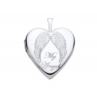 Silver Angel Wings Heart Locket