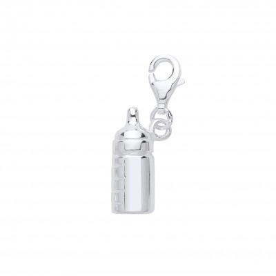 Silver Baby Bottle Charm Pendant