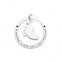Silver Blue Cubic Zirconia Baby's Footprint  Pendant