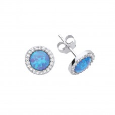 Silver Blue Synthetic Opal and White Cubic Zirconia Stud Earrings