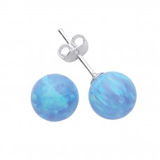 Silver Blue Synthetic Opal Ball Stud Earrings