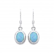 Silver Blue Synthetic Opal Drop Earrings