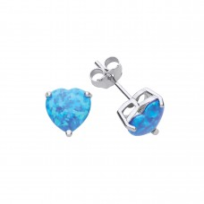 Silver Blue Synthetic Opal Heart Stud Earrings