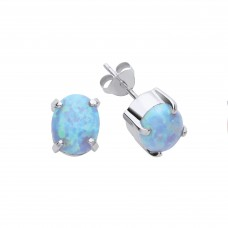 Silver Blue Synthetic Opal Stud Earrings