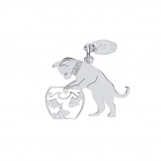 Silver Cat and Goldfish Bowl Pendant